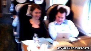 George Osborne and aide on train