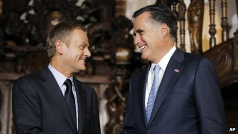 Donald Tusk and Mitt Romney