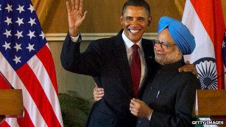 Obama and Manmohan Singh in India in 2010