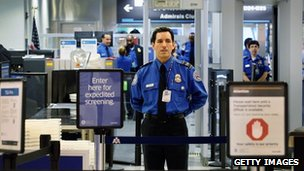 A Transportation Security Administration official at Miami International Airport on 4 October 2011 in Miami, Florida