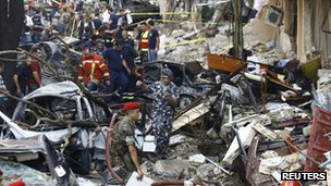 Scene of car-bomb blast in east Beirut, 19 October