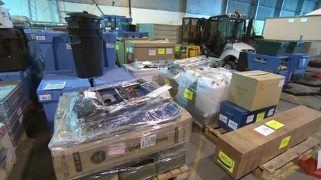 Inside the UK Aid warehouse at Cotswold Airport