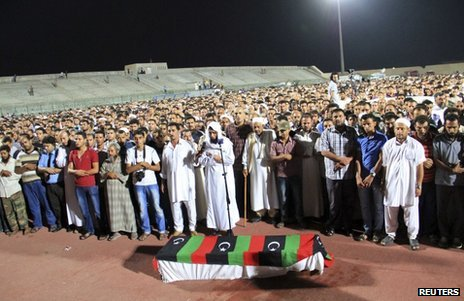 Mourners at the funeral of Omran Shabaan in Misrata, Libya, 25 September