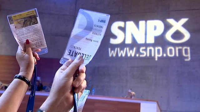SNP conference, members holding voting cards