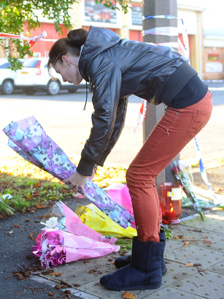 Woman leaves flowers