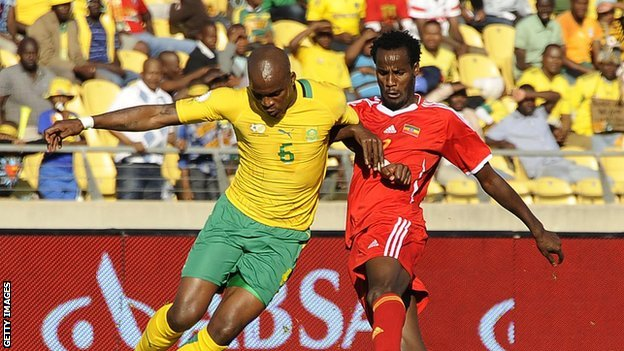South Africa's Morgan Gould (L) and  Ethiopia's Saladin Said during World Cup qualifier in June