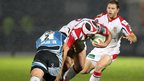 Glasgow hooker Dougie Hall ensures there is no way past for opposite number Rory Best