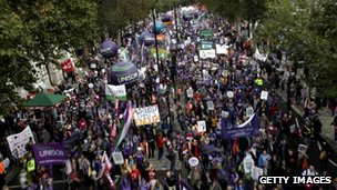 The TUC&#039;s London march against public sector cuts