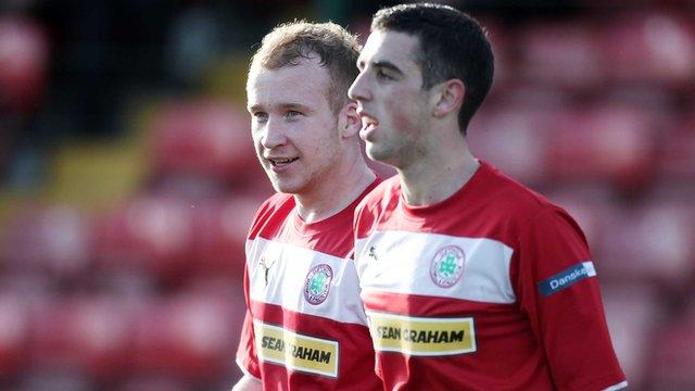 Cliftonville goal scorers Liam Boyce and Joe Gormley