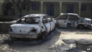 Burned cars after an attack in Potiskum. Photo: 20 October 2012