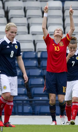 Spain's Adriana Martin celebrates her equaliser at Hampden Park