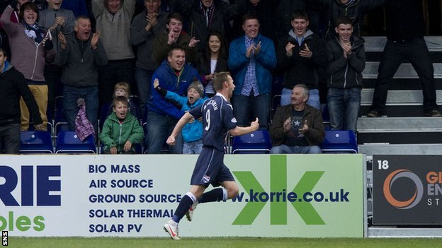 Ross County forward Colin McMenamin celebrates scoring against Hibernian