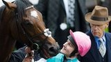 Frankel, jockey Tom Queally and trainer Sir Henry Cecil
