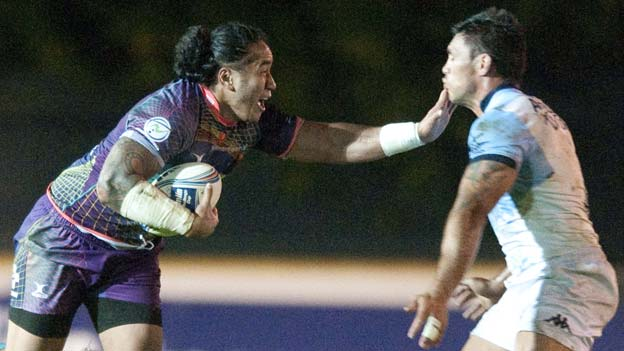 Dragons centre Andy Tuilagi takes on the Bayonne defence