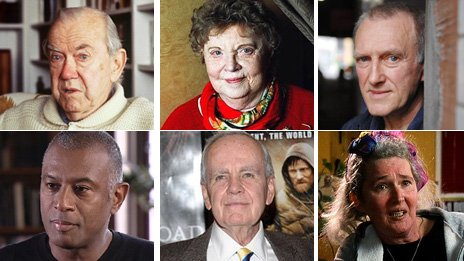 From top left clockwise, Graham Greene, Muriel Spark, James Kelman, Caryl Phillips, Cormac McCarthy and Angela Carter