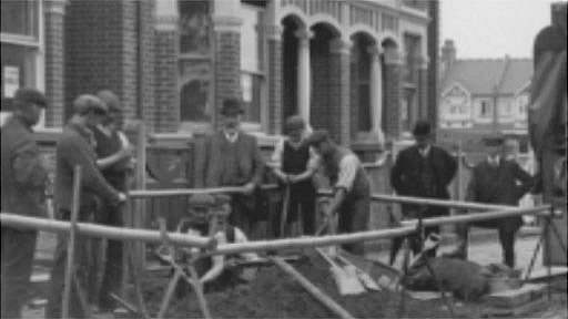 Historic photo of gas pipe laying