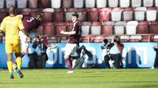 Danny Grainger fires an unstoppable drive towards the Motherwell goal