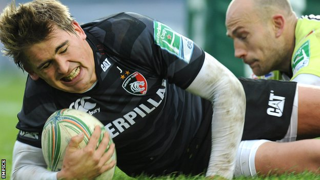 Toby Flood goes over for one of Leicester's late treble against Ospreys
