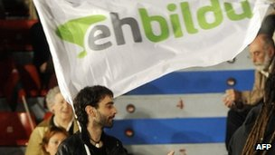 A supporter of the pro-independence Bildu coalition celebrates in Bilbao. Photo: 21 October 2012
