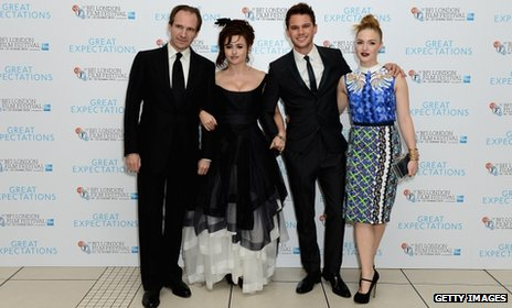 "Ralph Fiennes, Helena Bonham Carter, Jeremy Irvine and Holliday Grainger pose at the Closing Night Gala of ""Great Expectations"" during the 56th BFI London Film Festival"
