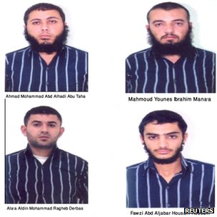 Handout photo of four of the 11 suspects detained in Jordan, 21 October 2012