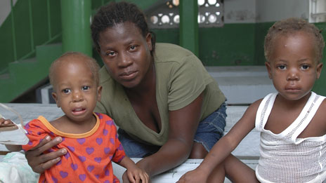 Daphne Orrel and her children in a cholera clinic in St Marc