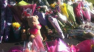 Flowers left near Ely fire station on Sunday