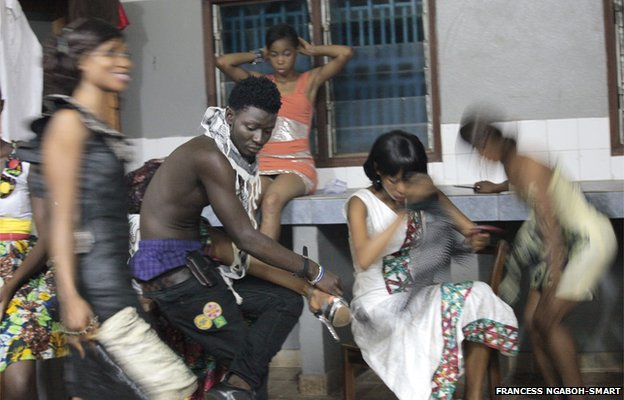 Backstage at a fashion show in Freetown, Sierra Leone