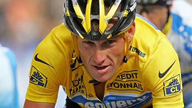 Lance Armstrong competing in the 2005 Tour de France