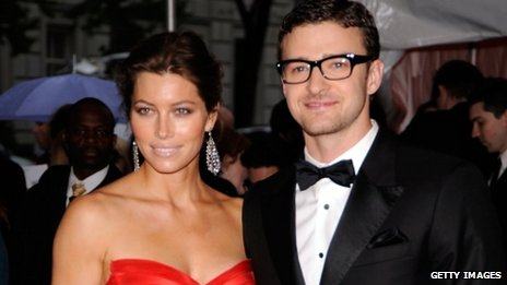Jessica Biel and Justin Timberlake on the red carpet.