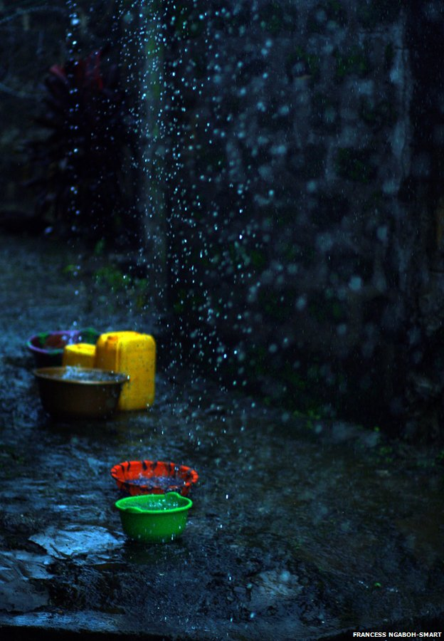 Buckets and bowls collect rainwater