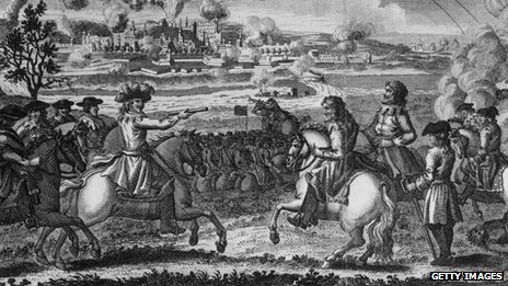 An engraving depicts Cromwell storming Drogheda in Ireland, 1649