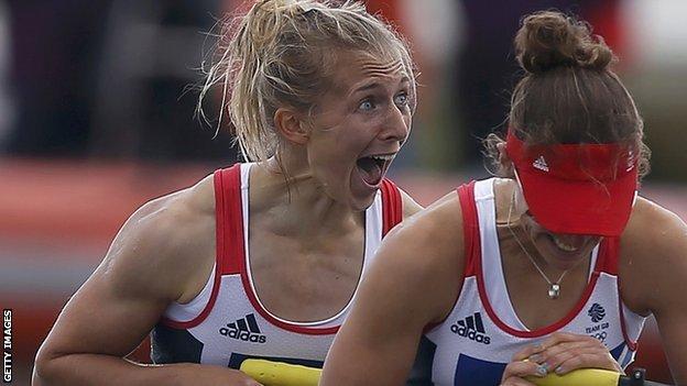 Katherine Copeland (left) wins gold with Sophie Hosking at London 2012