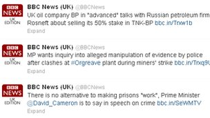Screengrab of BBC News Twitter feed