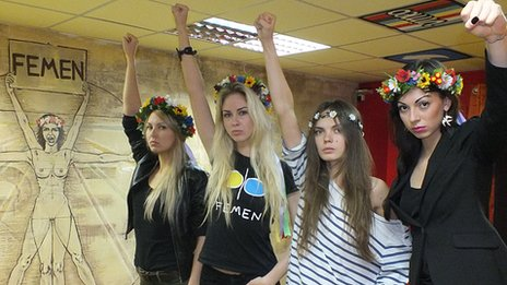 Femen acivists Yana Zhdanova, Oleksandra Shevchenko, Oksana Shachko, Katya Dmytrenko