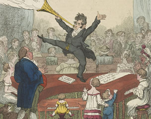 A German cartoon showing a man standing on a piano in front of a large crowd. Library of Congress, Prints and Photographs Division, LC-DIG-ds-01349