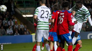 Victor Wanyama powers in a header for Celtic