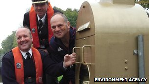 The waterways team with Sir Steve Redgrave at the gold pedestal