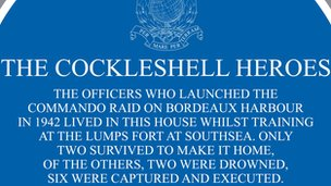 Part of the Cockleshell Heroes plaque