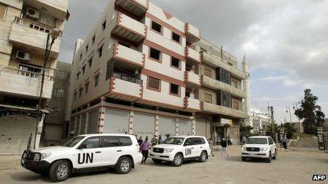 UN monitors in Homs (3 May)