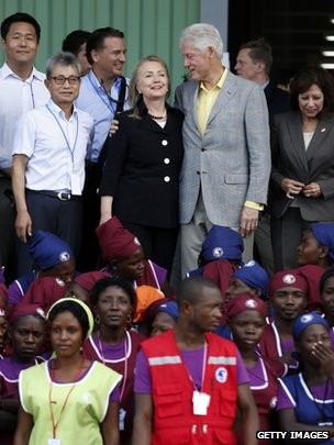 Bill and Hillary Clinton at the launch of the Caracol industrial park