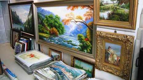 Paintings in the gallery belonging to Ye Jianghong in Dafen Art village, Shenzhen