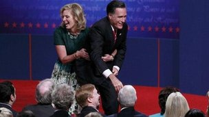 Ann and Mitt Romney on stage in Boca Raton, Florida 22 October 2012