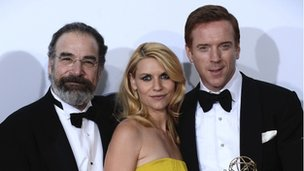 Actors Mandy Patinkin, Claire Danes and Damian Lewis