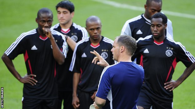 Ajax manager Frank de Boer talks to his squad before their game with Real Madrid last season
