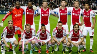 The Ajax team pose for a photo before their game against Real Madrid