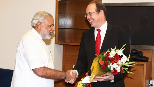 Narendra Modi and James Bevan