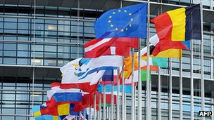 EU states&#039; flags outside European Parliament, Strasbourg