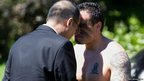 "Philippine President Benigno Aquino (left) receives a traditional Maori greeting called a ""hongi"" in Wellington on October 23, 2012"