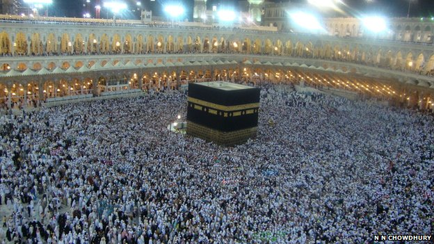 Crowd circling the Kaaba